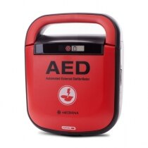 When installed, the battery forms the top handle of the defibrillator