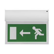 Double Sided Hanging LED Fire Exit Sign - Self Test - Left Right Arrow