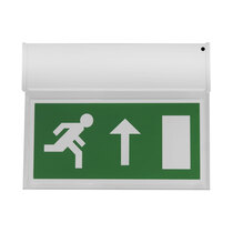 Double Sided Hanging LED Fire Exit Sign - Self Test - Up Arrow
