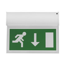 Single Sided Hanging LED Fire Exit Sign - Self Test - Down Arrow