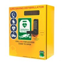 2000 model - outdoor heated defibrillator cabinet with code lock