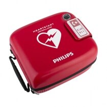 Bright red finish helps to quickly locate the defibrillator in an emergency