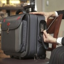 The case can be secured to a fixed object using the retractable steel cable