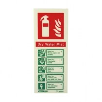 Sign specific for dry water mist fire extinguishers