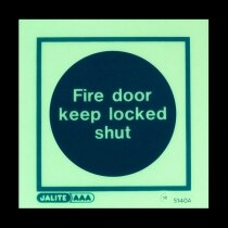 """Fire Door Keep Locked Shut"" in darkness"