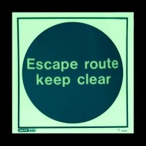 """Escape route keep clear"" - photoluminescent"