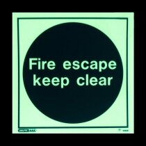 """Fire escape keep clear"" - photoluminescent"