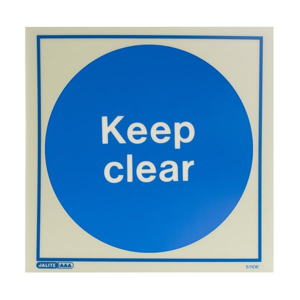 Photoluminescent Keep Clear Door Signs - Rigid Plastic