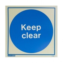 Photoluminescent Keep Clear Door Signs - Rigid Plastic