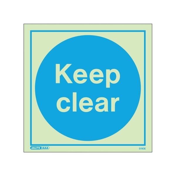 Photoluminescent Keep Clear Door Signs - Vinyl 100x100mm