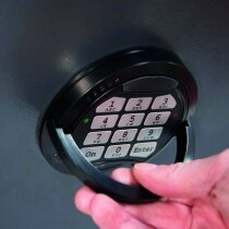 The high security electronic lock has a time-delay function