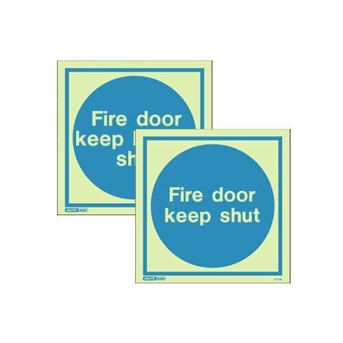 Photoluminescent Fire Door Signs - Rigid Plastic