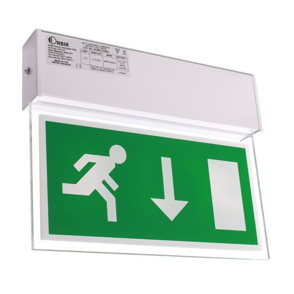 Double-Sided Hanging LED Fire Exit Sign with Self-Test - Romney