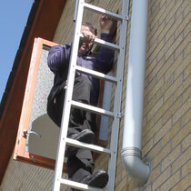 The unfolded ladder can hold up to three people per floor