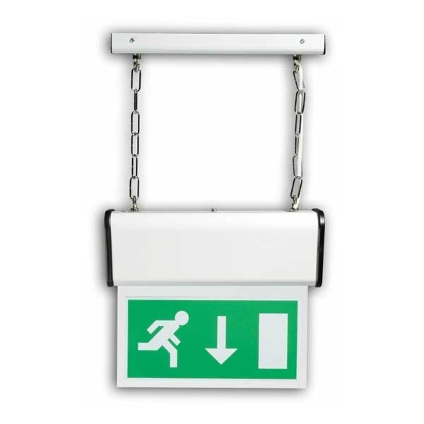 Single-Sided, Chain-Suspended 8W Fire Exit Sign - Savona SAV8