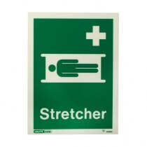 Stretcher location sign with text