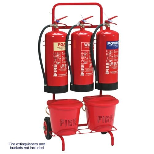 Triple fire extinguisher trolley available with bucket bracket
