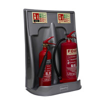Suitable for holding two fire extinguishers up to 9kg/9ltr in size