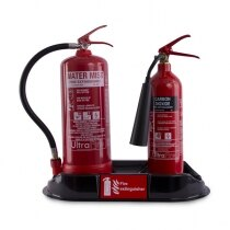 Accommodates most sizes of portable fire extinguishers