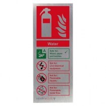 Stainless Steel Water Fire Extinguisher ID Sign