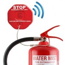 The theft stopper sounds at 105dB if the fire extinguisher is moved