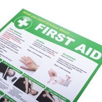 Provides guidance of first aid treatment and emergency actions