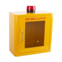 A clear vision panel to allow checking of the status of the AED