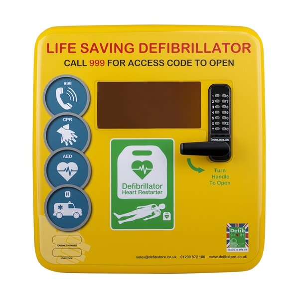 Polycarbonate Outdoor Defibrillator Cabinet with Code Lock, Heating and Light - Yellow