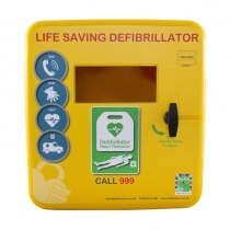 Polycarbonate Outdoor Defibrillator Cabinet with Heating System and Light - Yellow