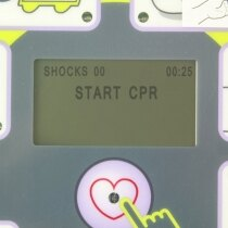 Onscreen instructions guide you through the defib process