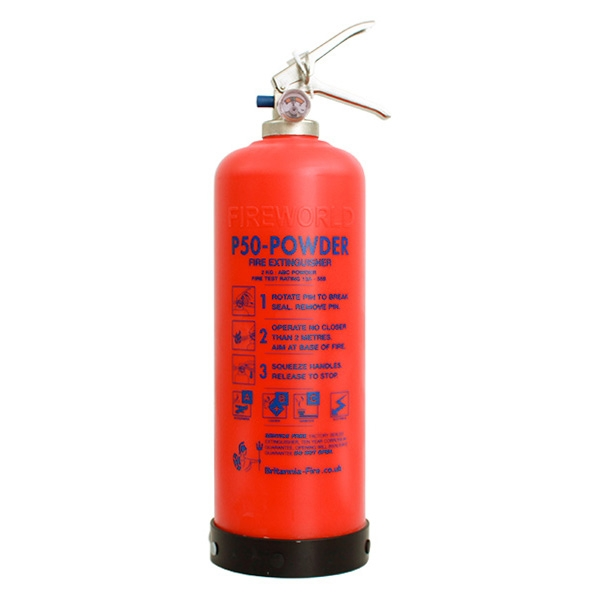The 2kg P50 service-free powder extinguisher is ideal for vans and buses