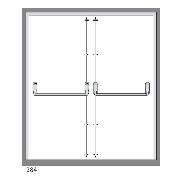 Exidor 284 Double Door Panic Bar Set With 2 Bolts From 163
