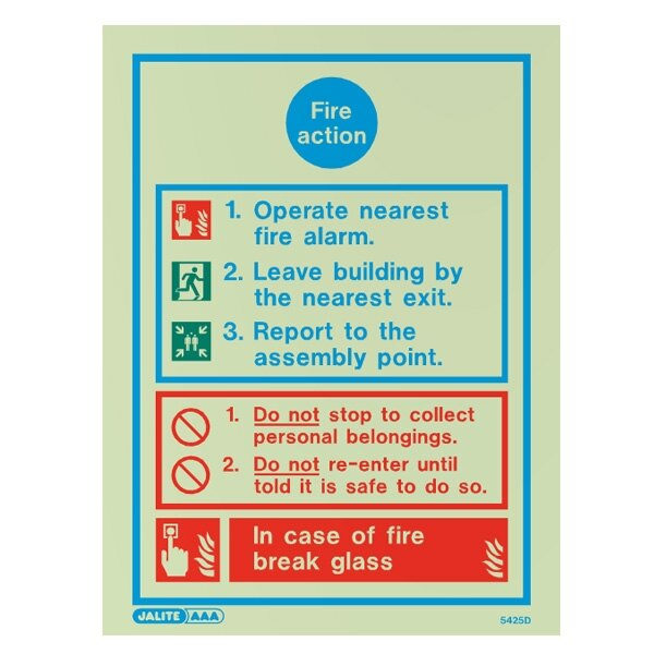 Fire Action Sign - 2