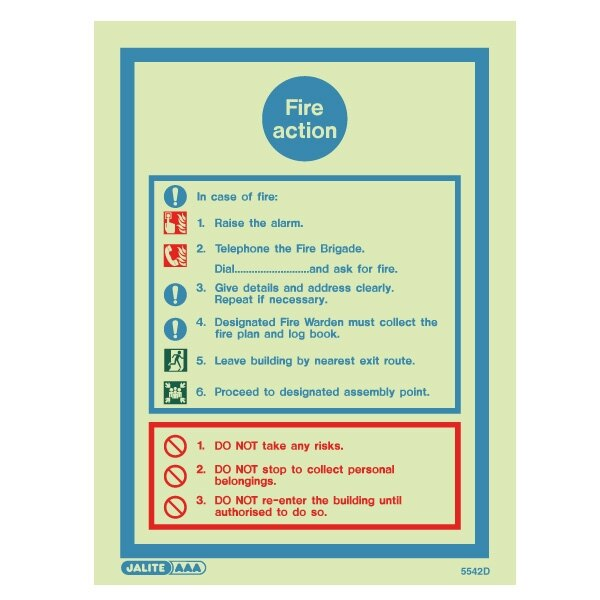 fire alarm log book template - fire action signs from jalite