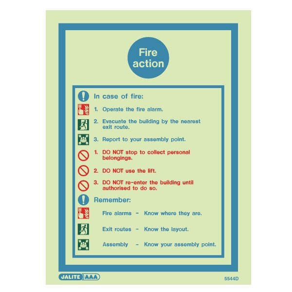 Fire Action Sign - 10