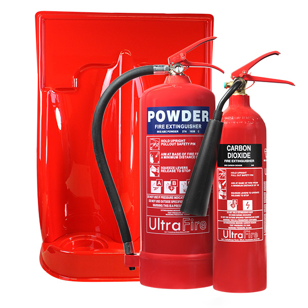 6kg Powder, 2kg CO2 Fire Extinguisher & Double Stand Special Offer