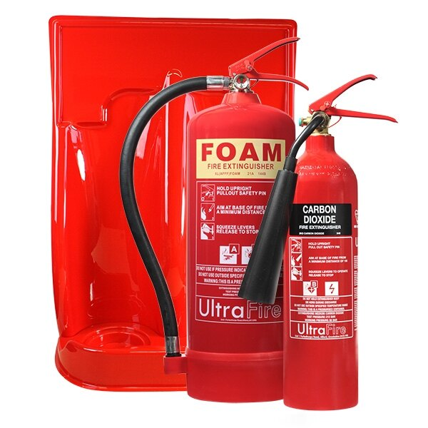 6ltr Foam, 2kg CO2 Fire Extinguisher & Double Stand Special Offer