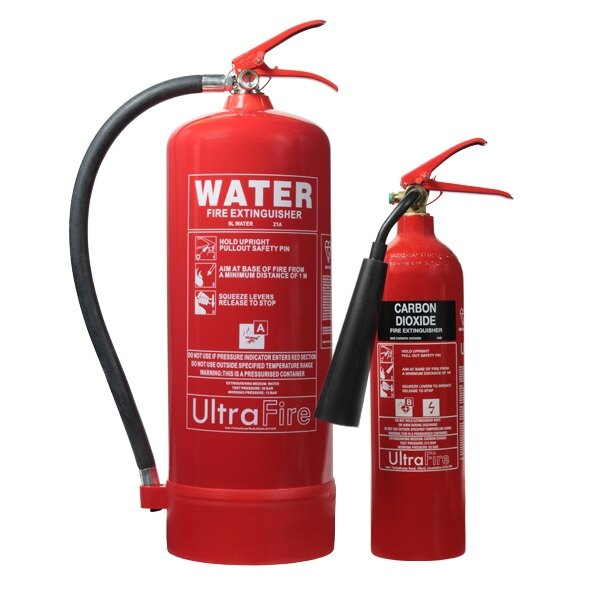 30 x 9L Water and 30 x 2KG CO2 Fire Extinguishers - UltraFire