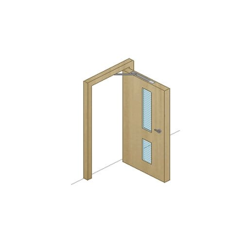 Technical drawing of a door with a fitted concealed door closer