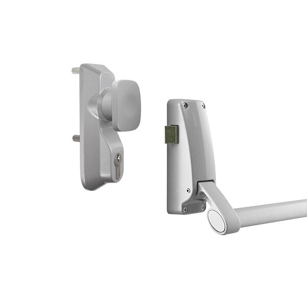 Briton 378 single door panic bar with latch and knob operated outside access device