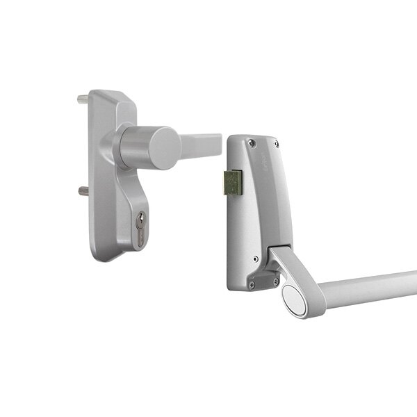 Briton 378 single door panic bar with latch and lever operated outside access device