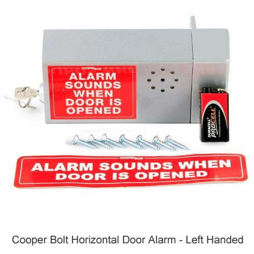 Cooper Bolt Horizontal Door Alarm - left handed version