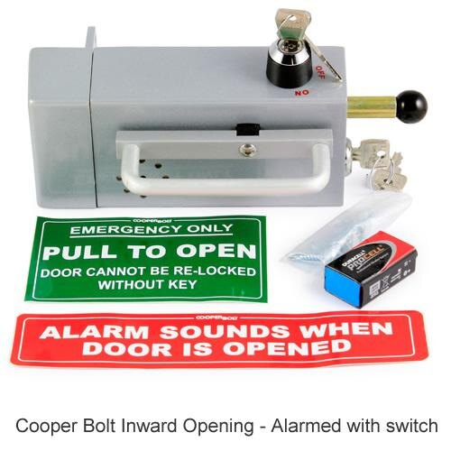 The Cooper bolt panic bolt for inward opening doors with optional alarm feature