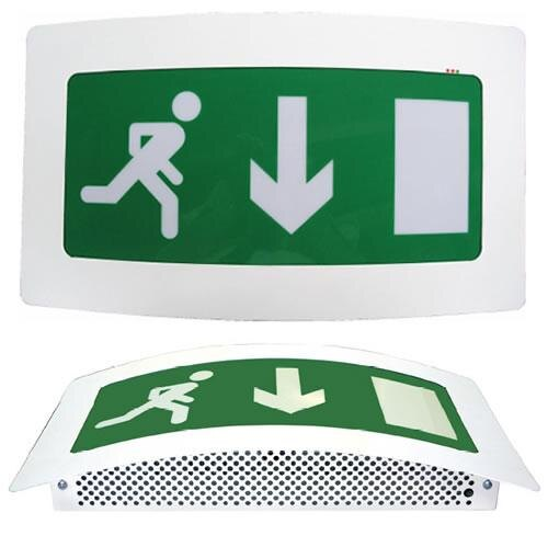 Curved LED Fire Exit Sign with Self-Test - ESL