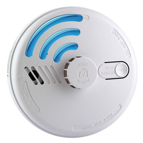 Mains Radio-Interlinked Heat Smoke Alarm with Alkaline Back-up - Ei144RF