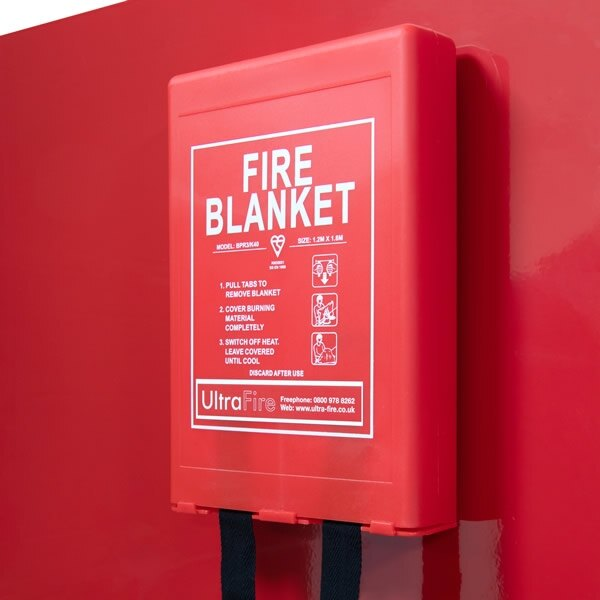 Fire Blanket on Red Stand