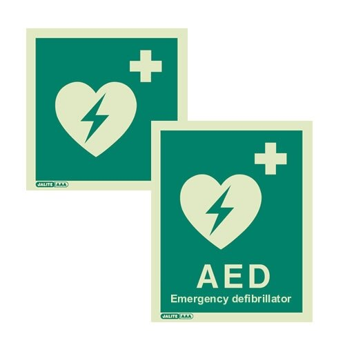 Emergency Aed Defibrillator Location Signs