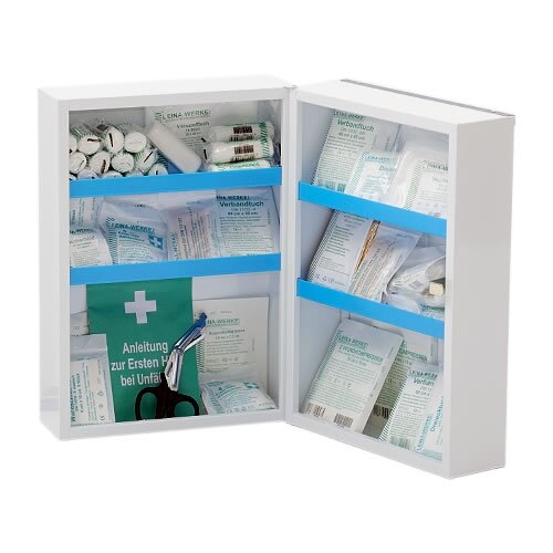 The Leina Medisan first aid cabinet is supplied with four shelves