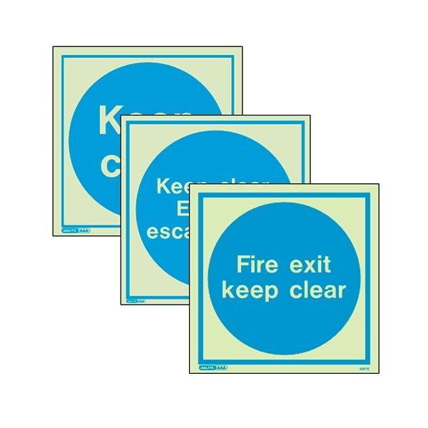 Photoluminescent Keep Clear Door Signs - Vinyl 200x200mm