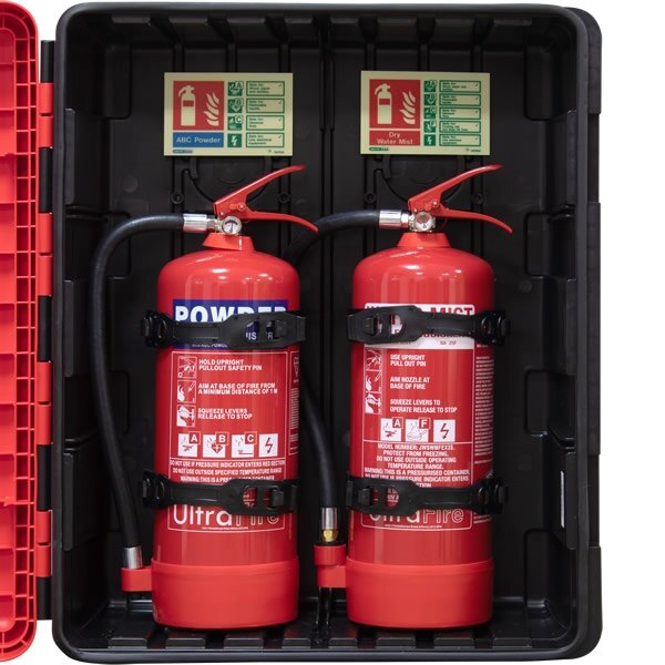 Fire Extinguishers in Red Cabinet on Red Stand